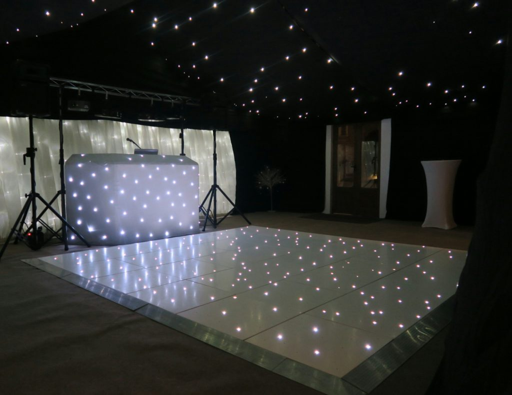 Coltsfoot Country Retreat, Herts, Standard Set Up, White Starlit Booth & Backdrop, White LED Dance Floor