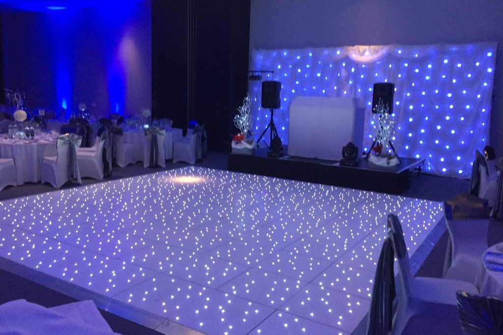 The Grosvenor, Mayfair, Standard Set Up, White Booth, White Starlit Backdrop, White LED Dance Floor, Blue Uplighting