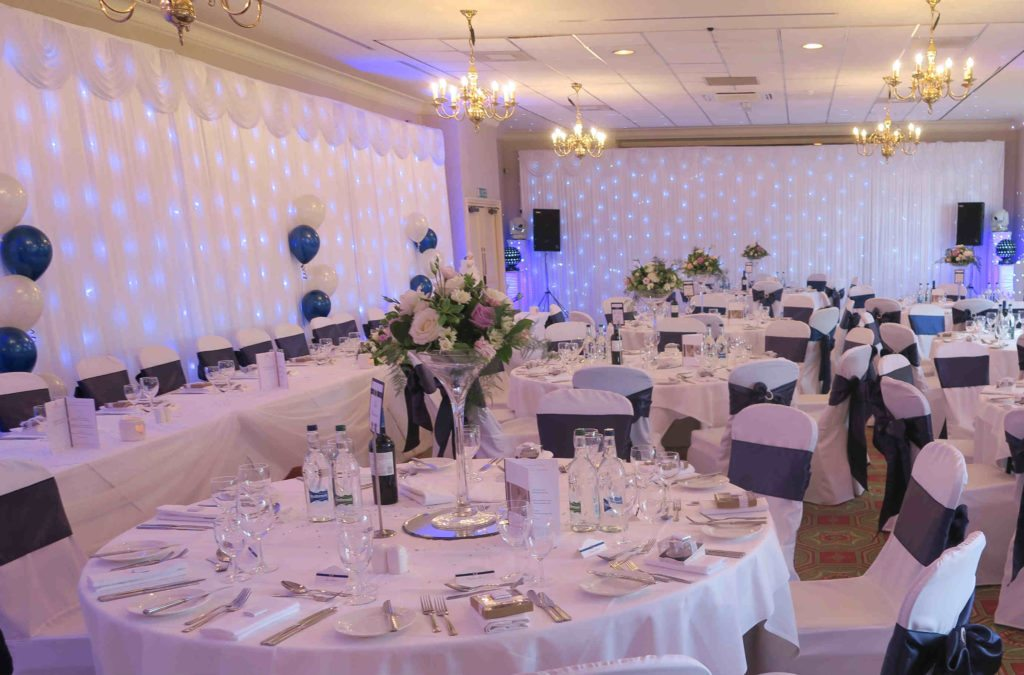 Hanbury Manor, Herts, White Starlight Backdrops Behind Top Table & Dancing Area