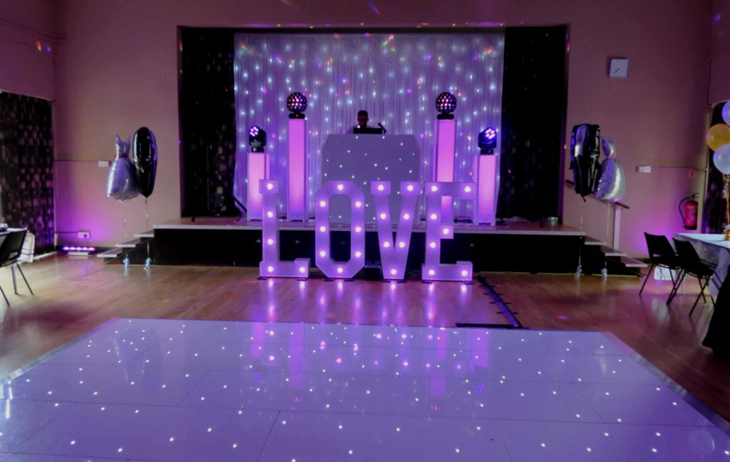 Orsett Village Hall, Essex, Premier Set Up, White Starlight Booth, White Starlight Backdrop, White LED Dance Floor, LOVE Letters, Uplighting