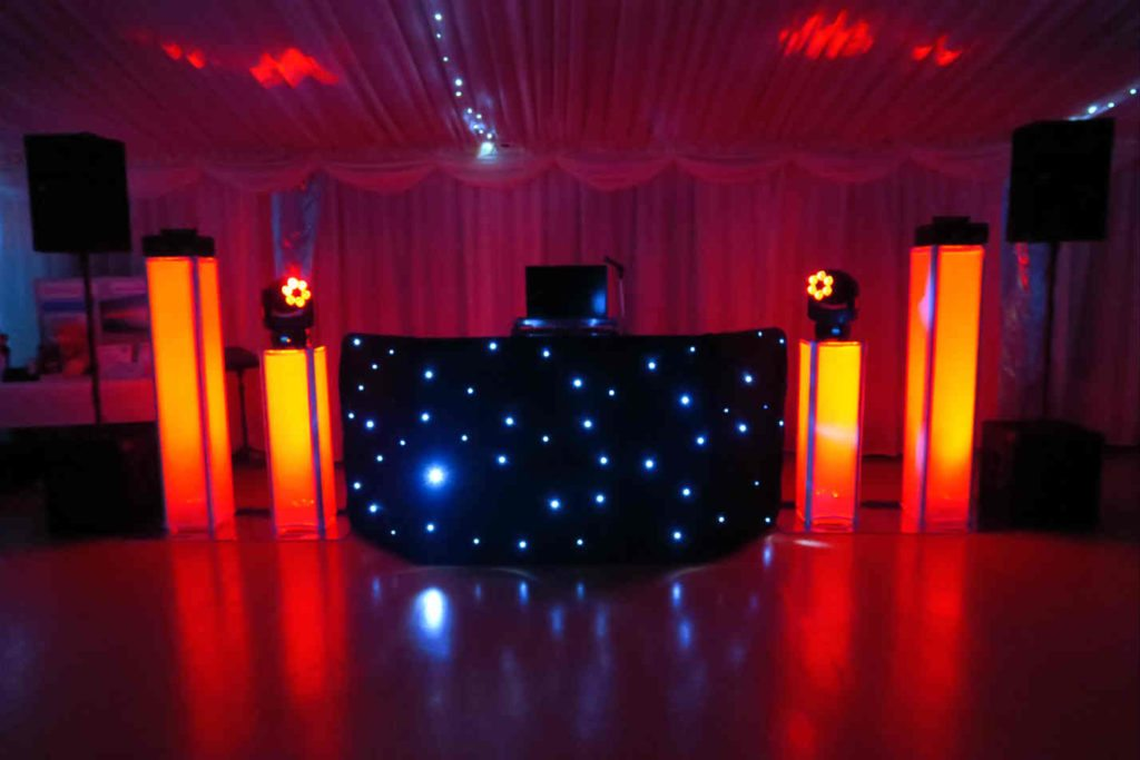 Paradise Park, Herts, Premier Set Up, Black Starlit Booth, Orange Uplighting