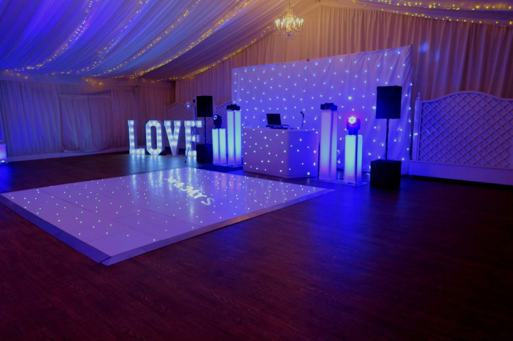 Parklands, Quendon Hall, Essex, Premier Set Up, White Starlit Booth & Backdrop, White LED Dance Floor, LOVE Letters, Lilac Uplighting