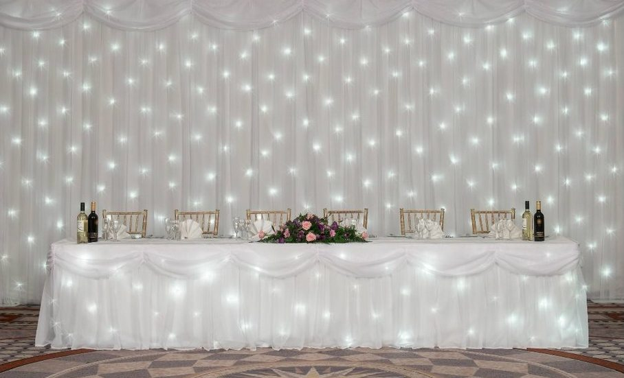 The Grove Hotel, Watford, Top Table White Starlight Backdrop