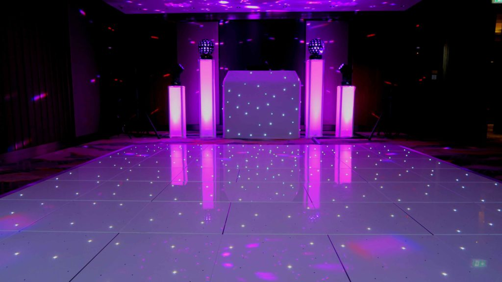 The Shard, Premier Set Up, White Starlit Booth, White LED Dance Floor, Pink Uplighting