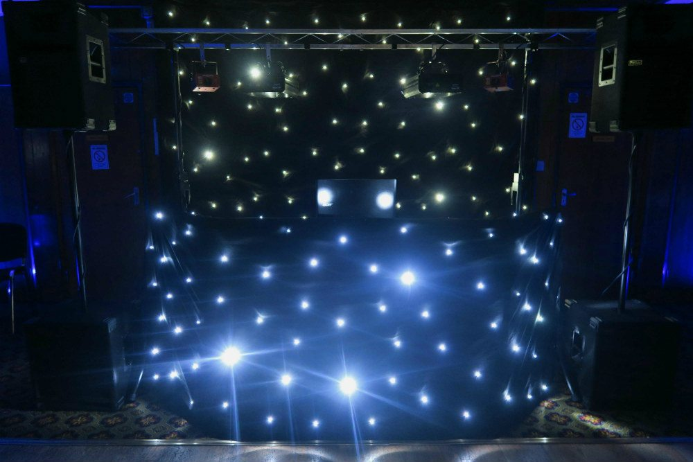 Wanstead Cricket Club, London, Standard Set Up, Black Booth With White Starlights, Black Backdrop With White Starlights, Blue Uplighting