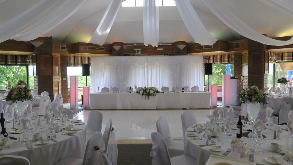 West Essex Golf Club, Premier Set Up, White Starlight Booth, White Starlight Top Table Backdrop, White LED Dance Floor