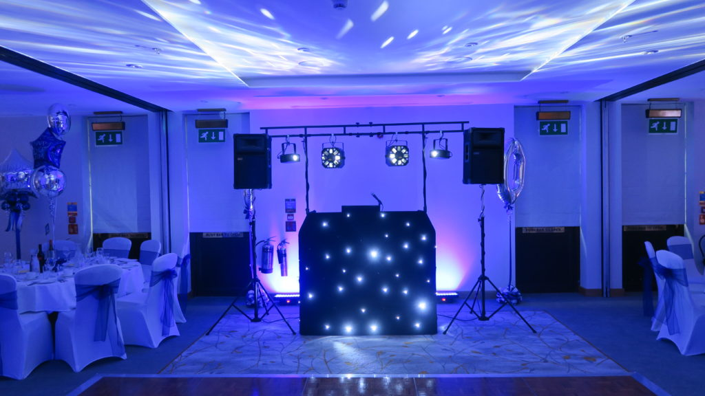 Cheshunt Marriott Standard Set Up, Booth, Black Starlight Booth, Lilac Uplighting