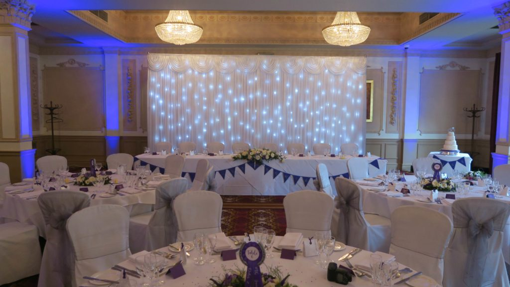 Down Hall, Essex White Starlit Top Table Backdrop
