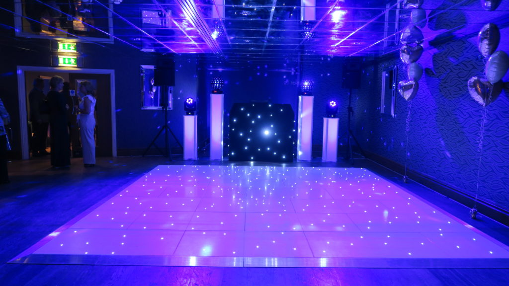 Orsett Hall, Essex Premier Set Up, Black Starlit Booth, White LED Dance Floor, Lilac Uplighting