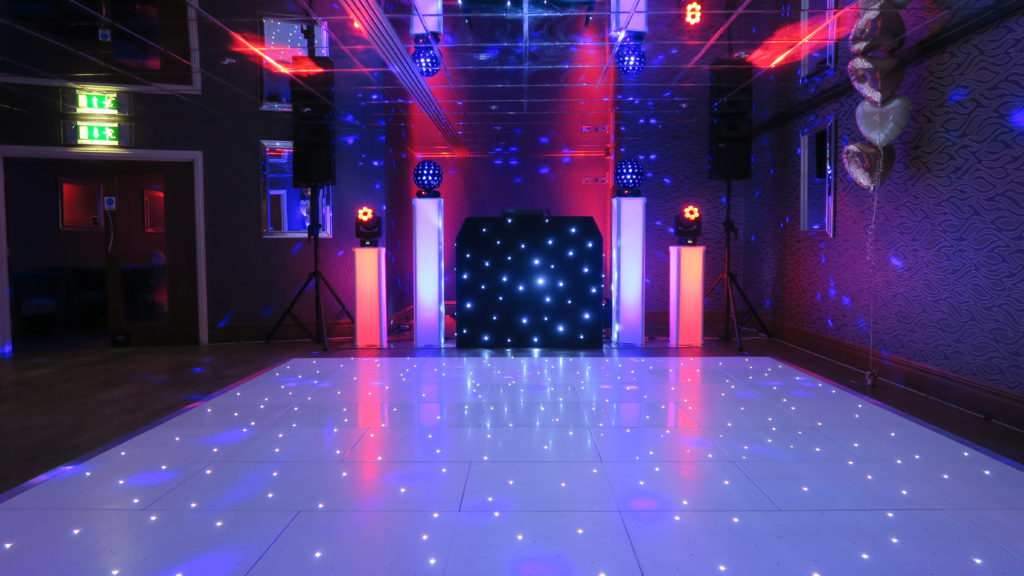 Orsett Hall, Essex Premier Set Up, Black Starlit Booth, White LED Dance Floor, Red & Blue Uplighting