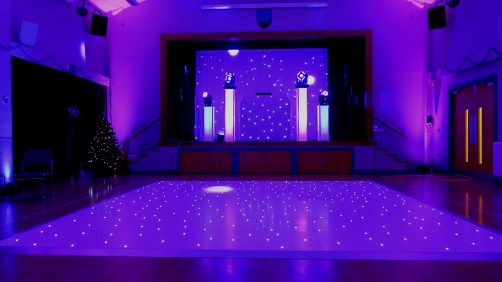 Theydon Bois Village Hall Premier Set Up, White Starlight Booth, White Starlight Backdrop, White LED Dance Floor, Pink & Blue Uplighting