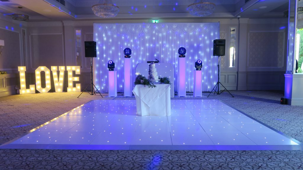 Down Hall, Herts, Premier Set Up, White Starlit Booth & Backdrop, White LED Dance Floor, Love Letters, Lilac Uplights
