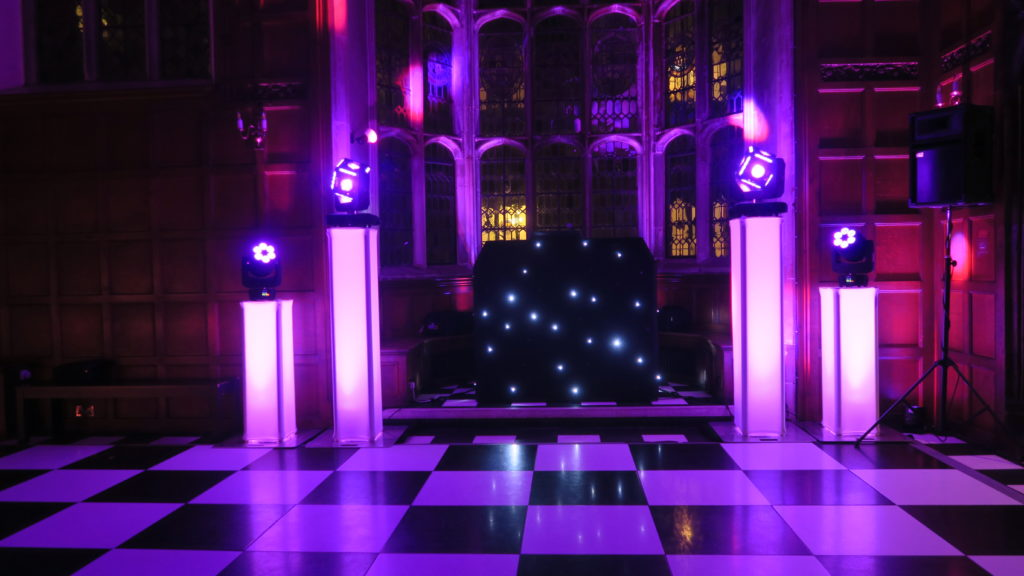 Hengrave Hall, Essex, Premier Set Up, Black Starlit Booth, Pink Uplights