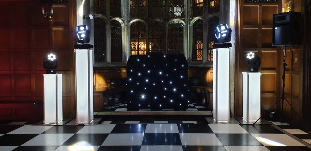 Hengrave Hall, Essex, Premier Set Up, Black Starlit Booth, White Uplights