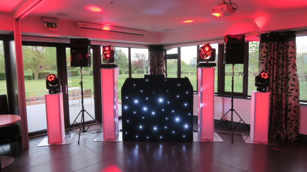 Mardyke Valley Golf Club, Essex Premier Set Up, Black Starlit Booth, Rose Uplights