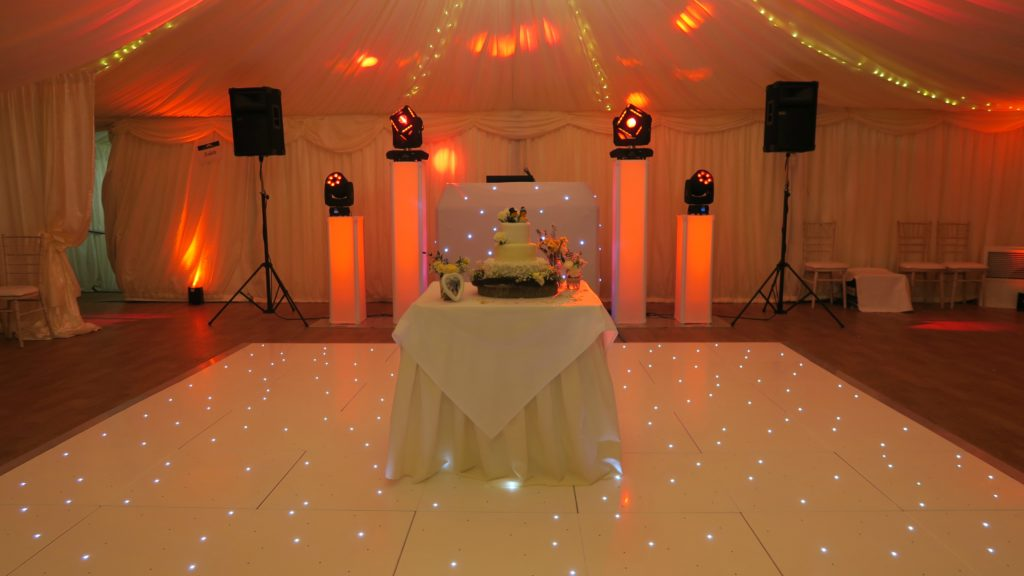 Mulberry House, Ongar, Essex, Premier Set Up, White Starlit Booth, White LED Dance Floor, Orange Uplighting