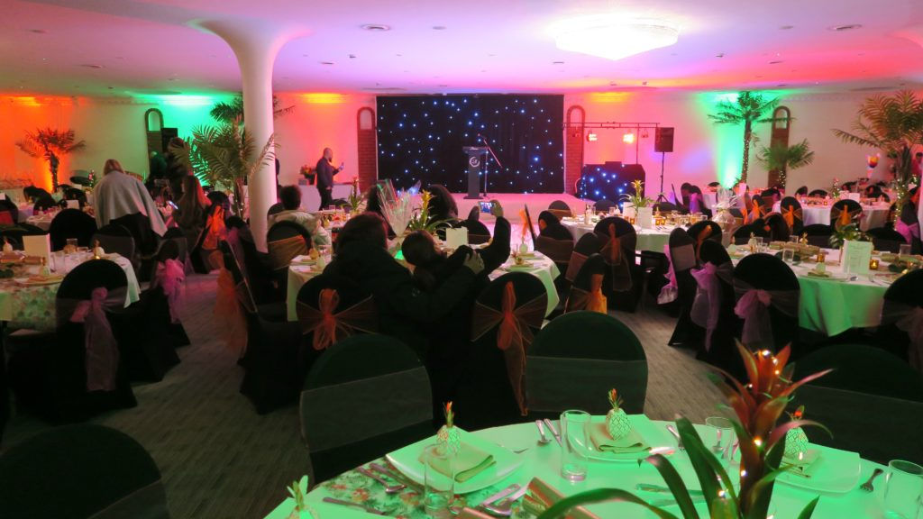 The Atrium, London, Black Starlit Backdrop On Stage For Corporate Awards Night, Orange & Green Uplighting