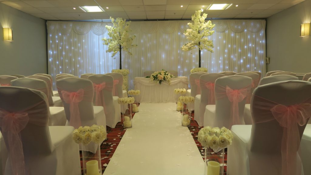 Waltham Abbey Marriott, Essex, White Starlit Backdrop for Wedding Ceremony