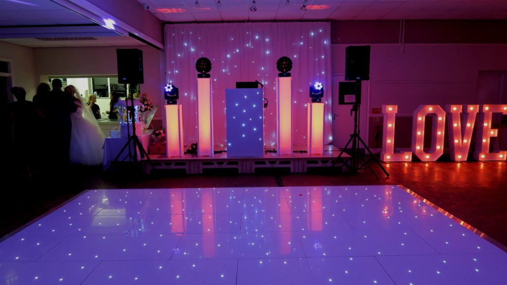 Cheshunt Rugby Club, Herts, Premier Set Up, White Starlit Booth & Backdrop, White LED Dance Floor, LOVE Letters, Uplighting