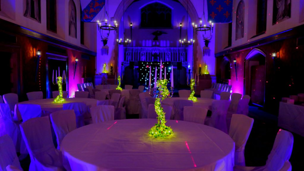 Hanbury Manor, Herts, Uplighting Pink & Blue