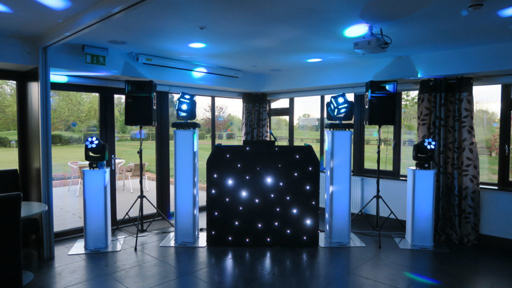 Black Booth with White Starlights, Light Blue Uplights